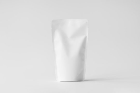 Blank Foil plastic Pouch coffee bag isolated on white background. Packaging template mock up.With clipping Path.
