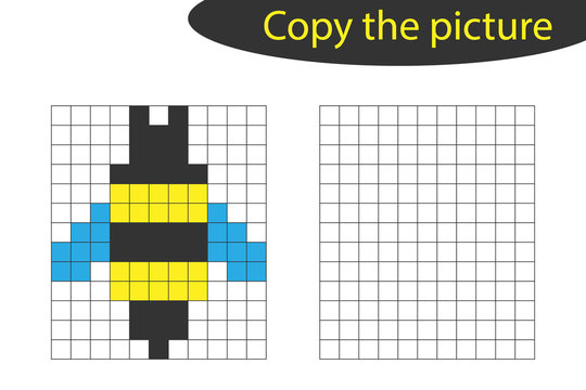 Copy the picture, pixel art, bee cartoon, drawing skills training, educational paper game for the development of children, kids preschool activity, printable worksheet, vector illustration