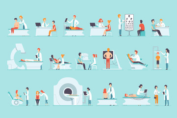 Flat vector set of people on medical examination. Doctors and patients. Professionals at work. Healthcare and treatment.