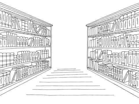 Library shelf graphic black white interior sketch illustration vector