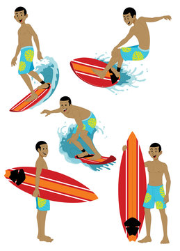 man character surfing set