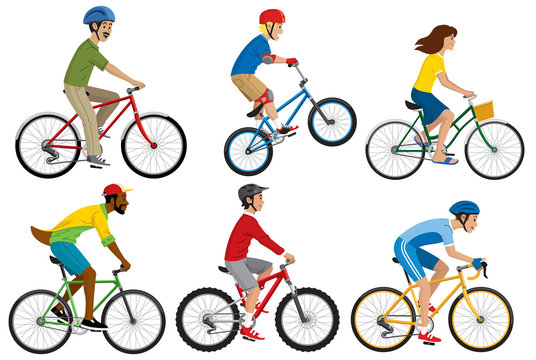 people riding various of bicycle in set