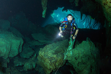 Wall Mural - Cave diving in mexican cenotes
