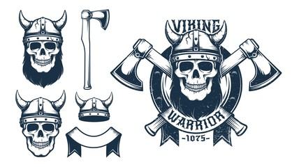 Viking skull emblem with crossed axes. Horned helmet and battle ax as separate design elements. Vector illustration. Grunge worn texture on separate layer.