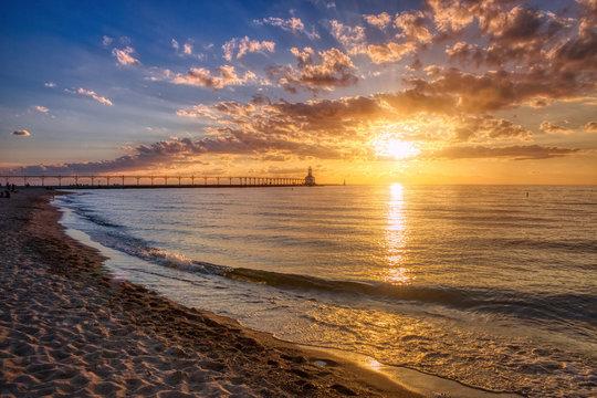 Dramatic Sunset at Michigan City East Pierhead Lighthouse