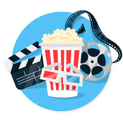 Cinema web banner concept. Pop corn, filmstrip, clapper