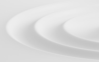 Abstract of water ripple shape, White background with free form of soft wave, 3D rendering