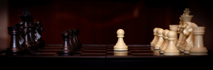 Selected focused chess set. White go the first. The central figure-pawn is on focused. Teamwork concept.