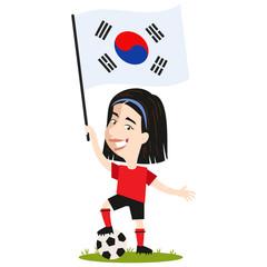 Keuken foto achterwand Magische wereld Fußballspielerin Südkorea, südkoreanische Fußball Spielerin mit Flagge