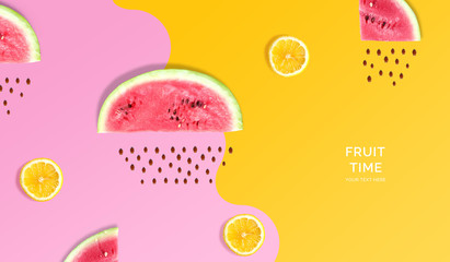 Creative layout made of watermelon, lemon. Flat lay. Food concept. Macro concept. Pink and yellow background.