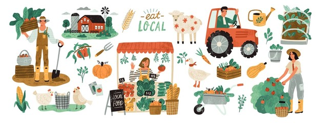 Local organic production set. Agricultural workers planting and gathering crops, working on tractor, farmer selling fruits and vegetables, farm animals, farmhouse. Flat cartoon vector illustration. Fototapete