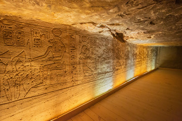 Bas reliefs with Egyptian deities in the Great Temple of Abu Simbel