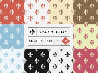 Vector set of ten fleur de lis seamless patterns