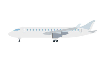 Cartoon picture of aircraft, airplane, airliner. Vector illustration. White background.