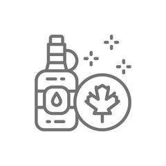 Bottle of maple syrup line icon.