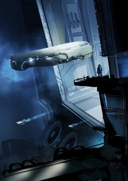 Digital paining of spaceship arriving at hangar - Illustration