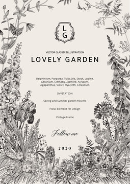 Lovely Garden. Vector invitation. Vintage frame. Spring and summer garden flowers. Black and white