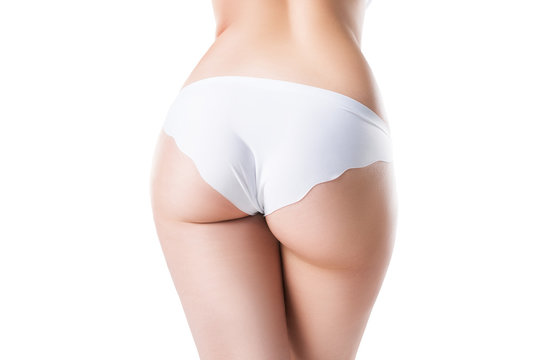 Perfect female buttocks isolated on white background