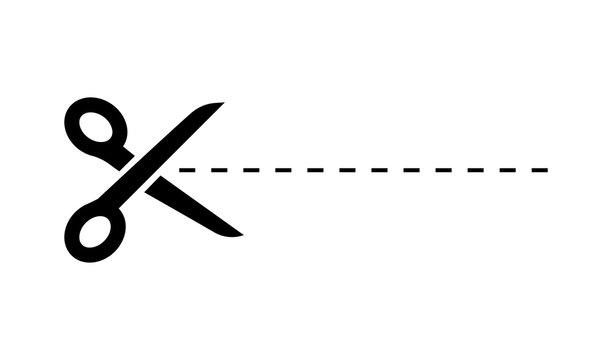 Dark Scissors icon on white background. Scissors icon with cut line