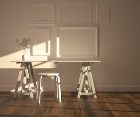 White interior mock-up with five empty frames, desk and stool, plant. Parquet floor. Rendering made using free software Blender