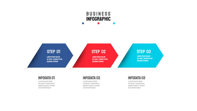Vector arrows timeline infographic template with 3 options or steps. Can be used for flowchart, presentation, info chart, graph, annual report.