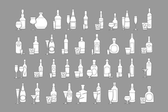 Bottles and glasses illustration for bars, pubs and restaurants. Creative decoration for parties, flyers, brochures, t-shirts. Chalk board style. vector