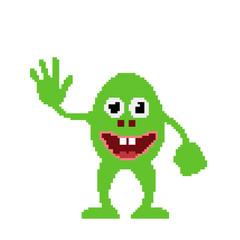 Obraz Monster. Isolated on white. Vector illustration. Pixel art. - fototapety do salonu
