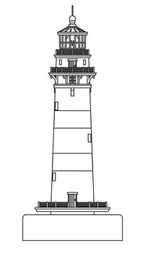 Isolated Lighthouse Line Drawing