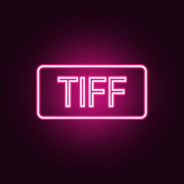 TIFF format neon icon. Elements of web set. Simple icon for websites, web design, mobile app, info graphics