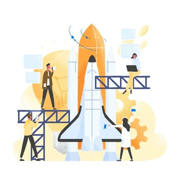 Group of people preparing spaceship, spacecraft, rocket or shuttle for space travel or mission. Clerks working together on startup company or business project launch. Modern flat vector illustration.