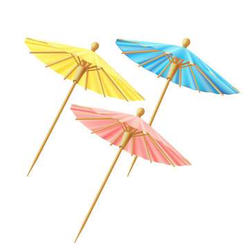 Set of cocktail umbrellas, for decor, blue, yellow, pink. Vector