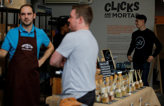 Small businesses are seen inside the Amazon-backed pop up store 'Clicks and Mortar' in Manchester