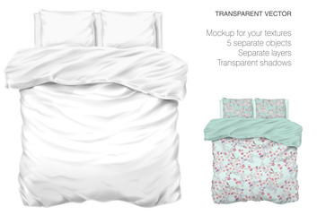 Obraz Vector blank white bed mock up for your design and fabric textures. Pillows and blanket with transparent shadows. View from the top - fototapety do salonu