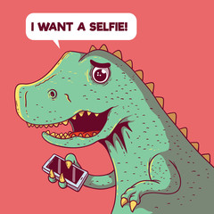 Dinosaur trying to take a selfie vector illustration. Selfie, technology, future, social media, connected, sharing design concept