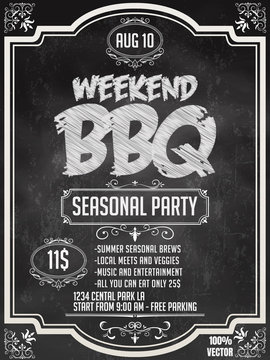 BBQ party invitation template on chalkboard. Summer Barbecue weekend flyer. Grill illustration with food sketches elements. Vector design for celebration, invitation, greeting card.