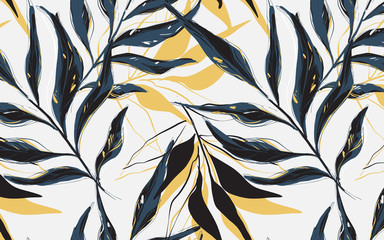 Summer Tropical  pattern, Vector palm tree  banana leaves sketch  drawn with contour lines against white background. Backdrop with foliage of jungle plants.  Outline design Wall mural