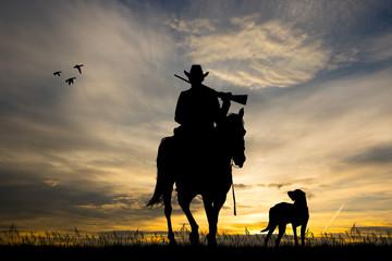illustration of horse hunters