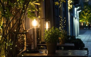 Beautiful vintage lamp on the street at night.