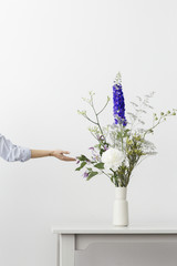 A female arm touching and adjusting a spring bouquet with a white peony, indigo delphinium, clematis and so much more beautiful blooms.