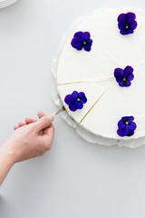 Woman's hand taking slice of cheesecake