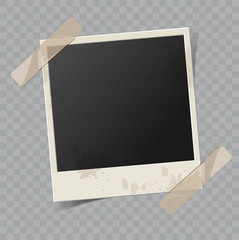 Vector blank retro photo frame with transparent shadow effect