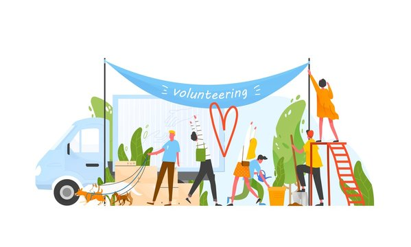 Composition with group of men and women volunteering, doing volunteer work or performing altruistic activities together - planting tree, walking dogs, hanging banner. Modern flat vector illustration.