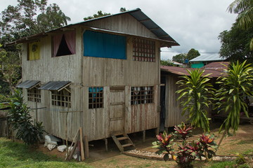 Wooden house in Puerto Narino at Amazonas river in Colombia