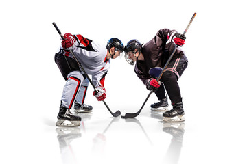 Hockey player isolated in white background starts game Wall mural