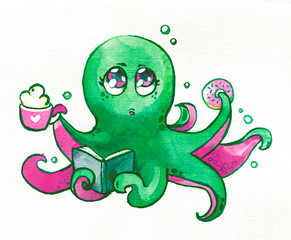 Octopus Kawaii coffee donut book children cute watercolor paper green