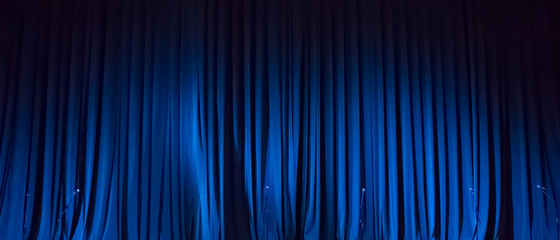 Panoramic Background of blue curtain on stage of theater