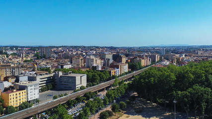 Aerial view in Girona, city of Catalonia,Spain. Drone Photo