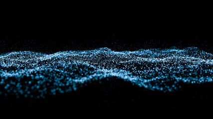 blue particle wave bokeh background and texture Wall mural