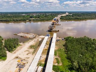 Fototapeta Budowa Mostu Południowego, widok z lotu ptaka, Warszawa obraz