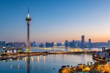 Foto op Canvas Las Vegas Macau city skyline at night